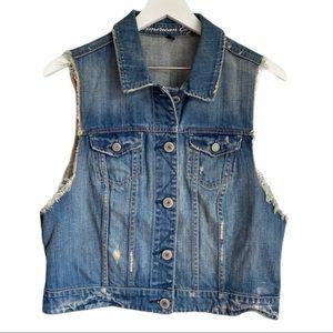 American Eagle Vintage Look Jean Vest Size XL